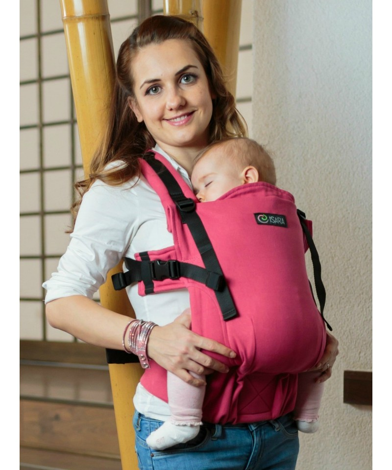 ISARA Full Wrap Conversion Raspberry baby, ergonomic adjustable organic cotton baby carrier